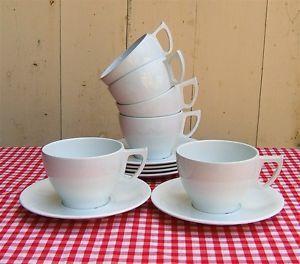 Super Vintage 50s 60s Melamine 6 Tea Cups Saucers Set Picnic camper Van White