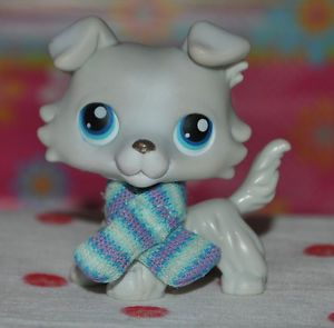Littlest Pet Shop LPS Grey Collie Dog 363 RARE Nice Condition with Scarf