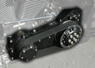 "Black Ultima 2"" inch Old School Belt Drive Primary Harley Softail Bobber Chopper"