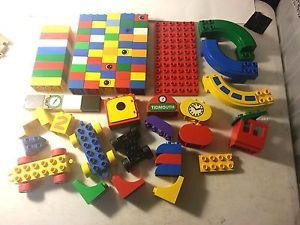 Big Lot 85 Lego Duplo Assorted Types Blocks Bricks Parts Eyes Wheels Carts