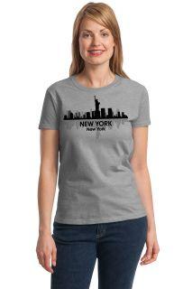 New York City Skyline Adult Ladies' T Shirt NYC Big Apple Manhattan Sky Tee