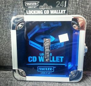 Vaultz CD Wallet 24 Lockable Disc DVD Metal and Plastic Case Clear Blue New