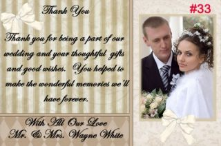 Personalized Wedding Photo Thank You Cards 25 Each Custom Made with Your Photo