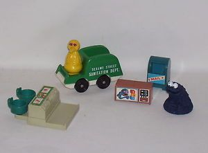 Vintage Sesame Street Toys Lunch Counter Mail Box TV Sanitation Truck Big Bird