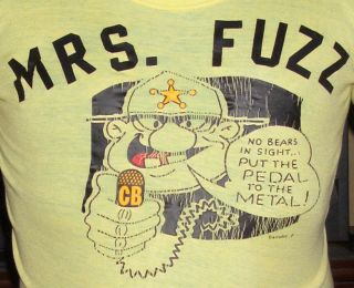 Vtg 1970's Mrs Fuzz Police Cartoon CB Radio T Shirt M Yellow Soft