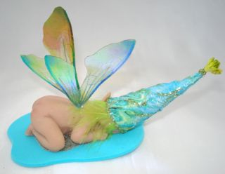 OOAK Fairy Fae Sleeping Baby Fairy Angel Art Doll Polymer Clay Sculpt Ellery