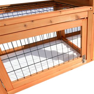 "53""L Wooden Rabbit Hutch Portable Hen House Chicken Coop Samll Pet Wood Cage"