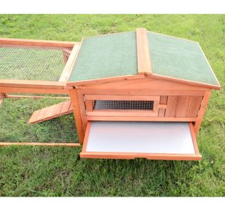 "Deluxe 62"" New Wooden Rabbit House Wood Hen Hutch Pet Small Animal Cage"