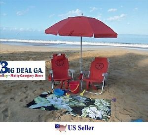 2 Tommy Bahama Backpack Cooler Beach Chairs Plus 7 Beach Umbrella