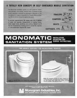 Vintage 1966 Monomatic RV Toilet Installation Operation Service Manual CD