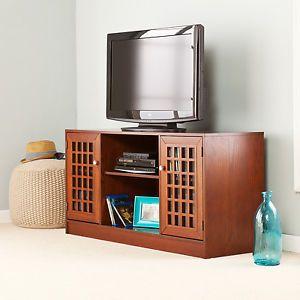 Media Console TV Stand Medium Espresso Center Storage Cabinets DVD CD Akita