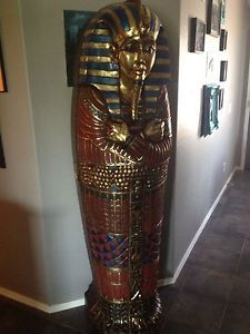 King Tut Sarcophagus Mummy Bookshelf CD DVD Storage Cabinet 6 Ft