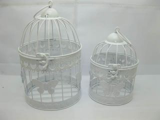 1set 2in1 White Round Hanging Bird Cage Card Holder Butterfly