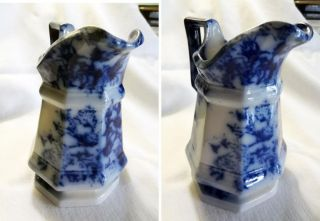 Antique Vintage Flow Blue China Porcelain Pitcher Rose Flower Pattern England