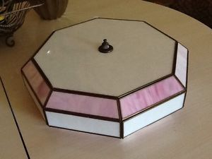 Vtg Octagon Pink and White Stain Glass Ceiling Light Lamp Shade
