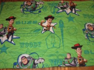 Handmade Quilted Table Dresser Runner Toy Story Room Decor Buzz Woody Green