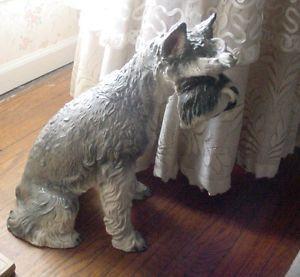 "Vintage Life Like Large Porcelain Schnauzer Dog Figure Statue 18 1 2"" Tall"
