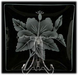 Frank Oda Arts Hawaii Hale Pua Sand Carved Plate Hibiscus Flower Sand Blasted