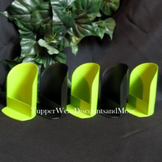 Tupperware New 5 Round Canister Rocker Scoop Scoops 2 Black 3 Lime Green