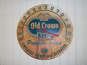 Vintage Old Crown Ale Advertising Thermometer