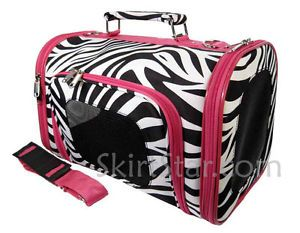 S M Dog Carrier Bag Cat Zebra Pink Pet Travel Puppy Yorkie Shih Tzu Carry on New