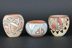 3 Vtg South Western Indian Style Clay Terracotta Signed Pottery Painted Vases