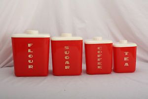 Vintage Lustro Ware Red 4 PC Canister Set Flour Sugar Coffee Tea