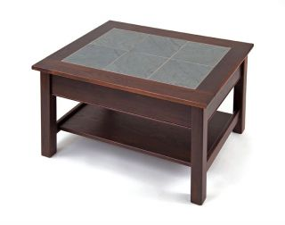 New Manchester Wood 7593 2 H0591100 Slate Top Coffee Table with Shelf Color Ches