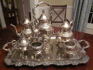 Stunning Antique Silver Plate Tea Coffee Set 7 Pieces Amazing Set