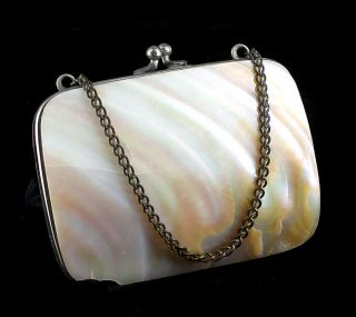Antique Victorian French Shell Mother of Pearl Coin Change Dance Purse France