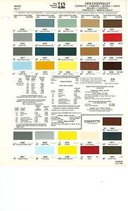 1978 Chevy Camaro Chevelle Corvette Paint Color CHART78 PPG Monte Carlo Ext Int