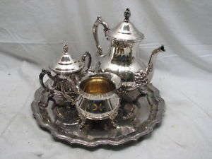 Vintage Towle Silver Plated Coffee Tea Service Set Tea Pot Sugar Creamer w Tray