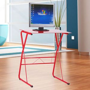 Red Computer Desk Laptop Table Desk Steel Tube 5mm Toughened Glass