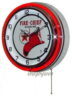 "18"" Red Texaco Fire Chief Star Double Neon Wall Clock Oil Gas Station Sign New"