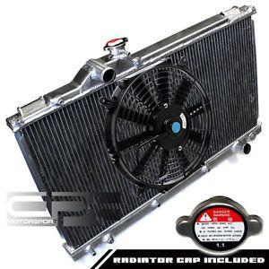"""Lexus altezza IS300 XE10 MT Manual Two Row Core Aluminum Radiator 14"""" Black Fan"""