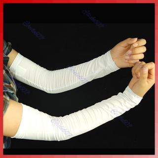 1 Pair Cooling Arm Sleeves Cover Sun Protection White