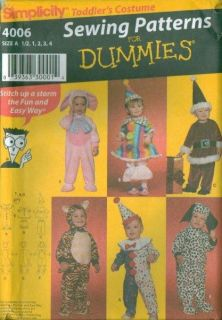 Simplicity Toddler Halloween Costume Sewing Pattern Size 1 2 3 4 Baby Kids