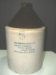 Antique Stoneware Crock Jug Jar 5 Gallon Hansen's Laboratory Cheese Butter N Y
