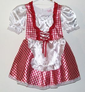 Toddler Girls Frolics Red and White Maiden Halloween Play Costume Dress Sz 3T