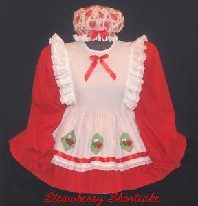 Custom Fit Strawberry Shortcake Adult Baby Sissy Dress Costume Leanne