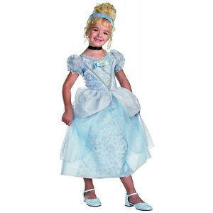 Deluxe Cinderella Costume Kids Disney Princess Dress Up Halloween Fancy Dress