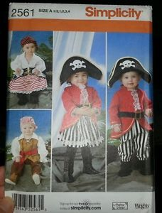 Simplicity Baby Toddler Boy Girl Pirate Costume Sz 1 2 4T
