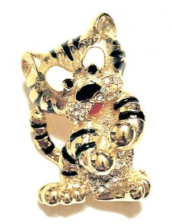 Vintage Tuffy Tiger Baby Gilded and Enameled Animated Figural Pin Sphinx N OS