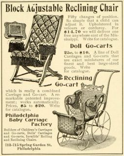 1899 Ad Antique Baby Carriage Adjustable Recliner Chair Furniture Philadelphia