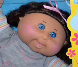 Cabbage Patch Kids Doll Kaila Layla DK Brown Curly Hair Blue Eyes Teeth July 12