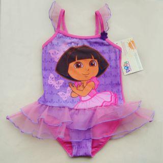 Dora The Explorer Girl Baby Tutu Swimming Costume Swimsuit Swimwear Tankini 2 9Y