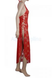 Sexy Red Long Halter Mesh Dress Skirt Lingerie Open Side G String Costume