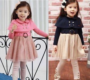 Girl Kids Baby Dresses Tutu Skirt Long Sleeve Clothing 1 Pcs Costume 1 7Y Lovely