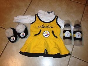 ... Super Cute Baby Girls Steelers Cheerleader Outfit 0 3 Months Halloween Costume ... & Cheerleader Outfit Costume Halloween Baby Blue Pom Poms Bow 6 ...