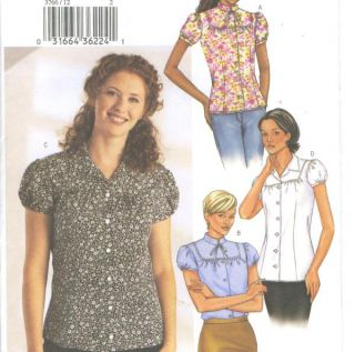 Misses Blouse Sewing Pattern Collar Length Variation Short Gathered Sleeves 3766